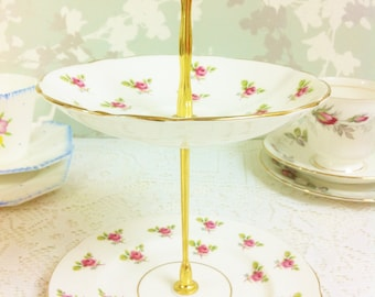 Dainty Pink Rose 2 Tier Mini Cake Stand