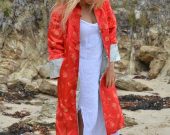 Stunning long Chinese jacket reversible red cream satin kimono coat asian vintage coat warm two sided double secret pockets