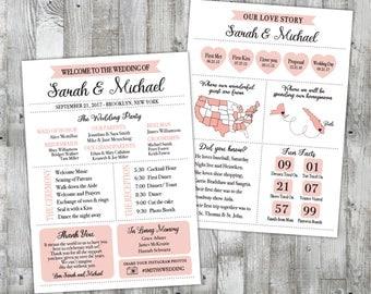Infographic Wedding Program, Printable Wedding Program, Modern Custom Unique Fun Wedding Program,  Bullet Journal wedding planner program