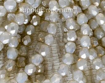 6mm Opal Ivory Mercury Czech Glass Fire Polished Round Beads, 25 Beads, Opal Ivory Mercury 6mm Firepolished Round 4979