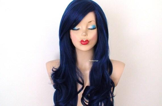Top Perruque noir bleu. Côté long long cheveux bouclés frange OZ16