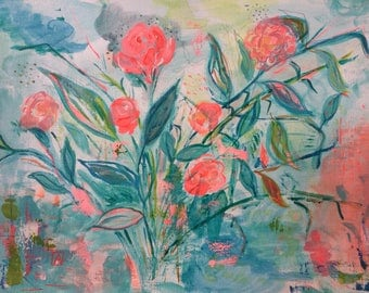 Original Fine Art flowers floral Acrylic Painting Wall Art on Paper 11 x 14 inches green neon pink home decor