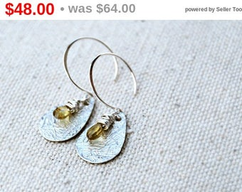 CIJ SALE** tryst... silver sapphire earrings / yellow tundra sapphire & sterling silver drop earrings / september birthstone