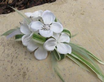 White Hydrangea Corsage, Wedding, Prom or Event.