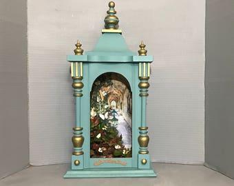 Vintage, Decorative Clock Case, Shadow Box, Nicho, Alter, Artist Collage, Memory Box, Spiritual, FREE SHIPPING