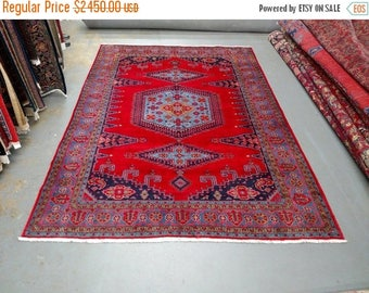 SUMMER CLEARANCE 1990s Hand-Knotted Room-Sized Wiss/Viss Persian Rug (3555)