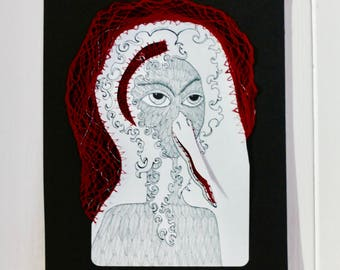 Mixed media painting, illustration and bobbin lace