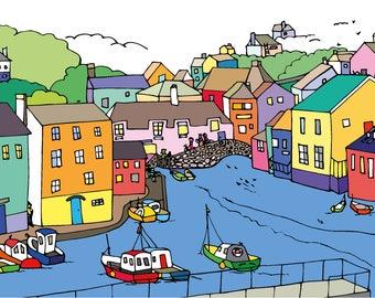 Polperro Harbour Cornwall Print, Harbour Print, Seaside Print, Boat Picture, Cornwall Art Print, Beach Print, Seaside Town, Colourful Art