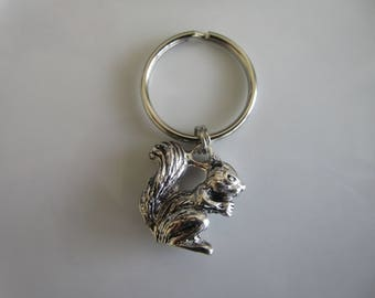 Silver tone carved squirrel charm - zipper pull jackets - squirrel zipper pull - squirrel charm pull - key chain squirrel - squirrel charms