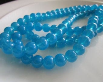 110 round Glass Beads ocean blue COLOR 6mm, bead supplies, glass beads, druk beads, beads for making jewelry, blue beads,  blue glass beads