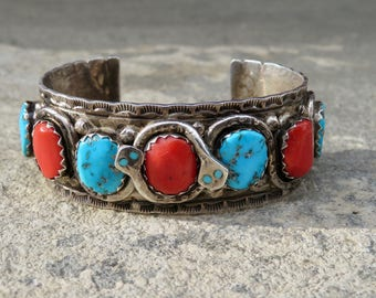 Vintage Effie C Turquoise and Coral Cuff,Snake Bracelet,Turquoise Jewelry,Zuni Effie Calavaza Snake Bracelet,Turquoise Coral Native Cuff