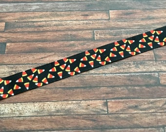 Halloween Candy Corn Ribbon-Halloween Candy Corn Grosgrain Ribbon-Candy Corn Hair Bow Ribbon-Halloween Craft Supplies-Halloween Bow Supplies