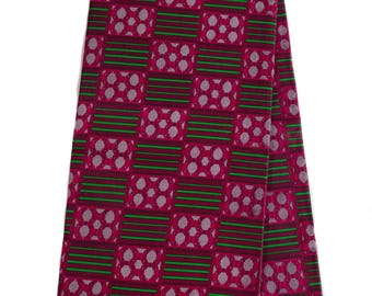 Quality Kente cloth / Raspberry and Green color/ Wholesale Kente print fabric/ Kente fabric/ Kente print / African fabric/ KF257