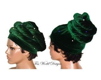 Tubular velvet headwraps, Beaded green/ Turban African Head wraps/ Turban headwrap/ Stretch velvet Headwraps/ African Head scarf/ HT229