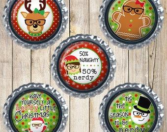 Nerdy Christmas - Christmas magnets - Nerdy Santa - Nerdy reindeer - Nerdy snowman - Nerdy elf - Nerdy Gingerbread man - Funny gifts