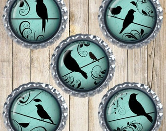Bird silhouette magnets - Bottle cap magnets - Blue and black bids - Victorian inspired - Earth magnets - New home gift - Kitchen decor