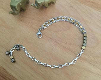"""Bracelet """"Hematite"""" - the era of jewelry - stainless steel chain - Casual - Hematite - chain - Chic - gold party - Classy."""