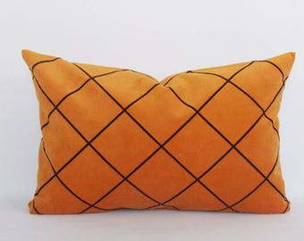 Velvet Cotton Mustard Brown Plaid Lumbar Pillow Cover, Decorative Pillow,Rectangle and Square Pillow, Sizes 12,14,16,18,20,22,24 inches