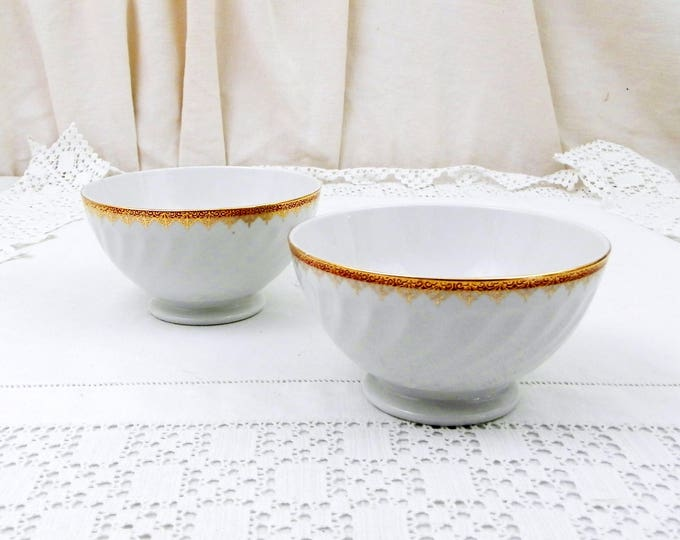 2 Vintage White Porcelain Coffee Bowls with Scalloped Sides Gold Gilt Frieze on the Rim from France by Sarreguemines, French Café au Lait