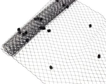 "1 Yard x 10"" Black Dot Russian Millinery Birdcage Veil Netting - Available in 20 Colors"