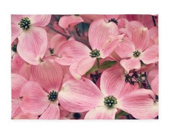Rug, 5x7, 3x5 or 2x3 Area or Throw Rug, Pink Dogwood Flowers, Nature Photography by RDelean Designs