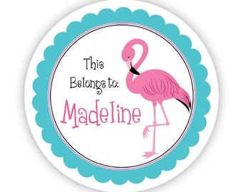 Flamingo Personalized Name Label Stickers - Turquoise and Pink Flamingo Name Tag Sticker - Round Label Name Tags - Back to School Name Label