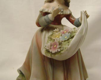 Lefton Vintage Girl Figurine, Apron full of Flowers
