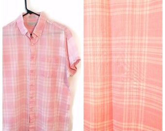Wedgefield Pink white Plaid size Large L thin short sleeves vintage