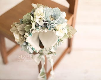 Blue Floral Bonnet Ready to Ship
