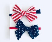 SET OF (2) 4th of July headbands lot 1 size fits all, baby newborn girls hair, nylon wraps, cotton bows, independence Day Red White Blue