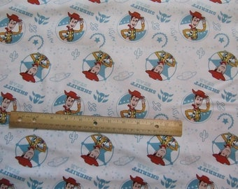 White Toy Story Sheriff Woody Cotton Fabric by the Yard