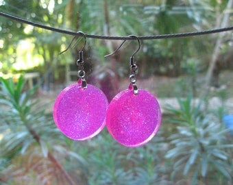 """Pop"" with pink glitter resin earrings"