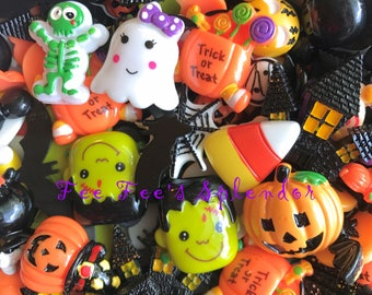 5 pc set- Halloween flatback resin GRAB BAG- Jack O Lantern Hair bow center - Cabochon Flatback resin-Trick or Treat