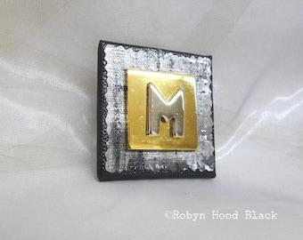 Letter M Silver and Gold Vintage Metal Letter Magnet 2 X 2