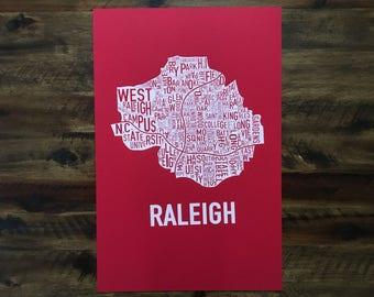 Raleigh, North Carolina Neighborhood Screen Print Map