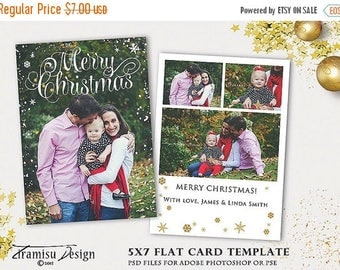 ON SALE Christmas Card Template, 5x7 in Holiday Card Adobe Photoshop psd Template, INSTANT Download, xm15-6