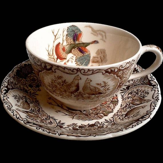"""Johnson Brothers Windsor Ware, """"Wild Turkey Flying"""" Tea Cup and Saucer Set, English Transferware, Thanksgiving, See Details Below"""