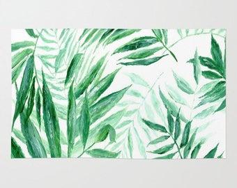 Modern Tropical Palm Leaves Area Rug, palm leaves rug, palm leaf rug, modern area rug, minimal rug, palm area rug, tropical area rug