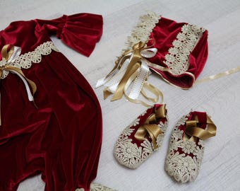 On sale!!  Vintage lace red and gold romper set