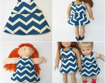 "cabbage patch 16"" kids or bitty baby, girl matching, or 18 inch doll clothes, blue off white chevron print jumper dress, adorabledolldesigns"