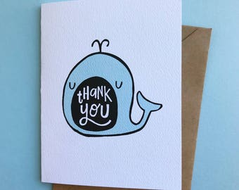 Whale Thank You Card - Hand Drawn Illustrated Greeting