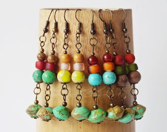 Yoga Earrings, Tibetan earrings, Gemstone Earring, Ethnic Earrings, Turquoise Earrings, Nepalise Jewelry, Tibetan Jewelry, Boho, Bohemian