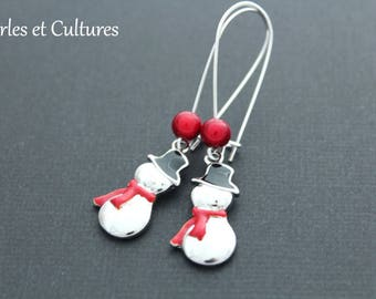 Snowman earrings - silver red scarf
