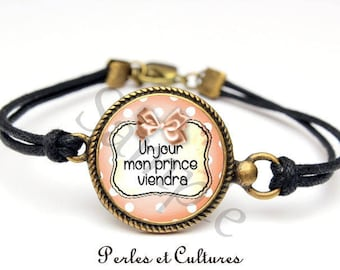 Bracelet one day my prince will come bow pink black glass cabochon