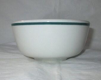 "Shenango Restaurant Ware 4.25"" Open Sugar Bowl with Green Border (c. 1987)"