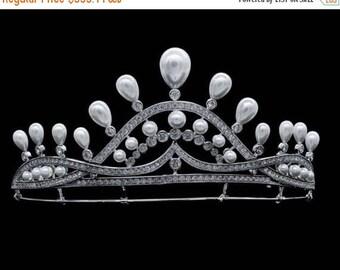 ON SALE 10% OFF Vintage Style 12.50Ctw Rose Cut Diamond .925 Sterling Antique Tiara/Crown