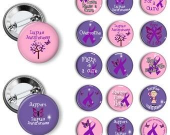 Lupus Awareness Pins Lupus Awareness Buttons Lupus Awareness Badges 1.25 inch pinback buttons pins badges