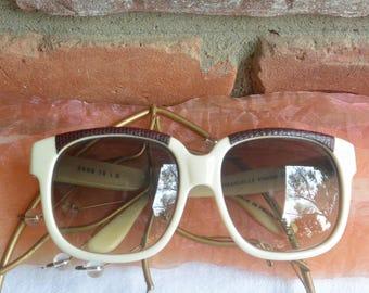 Emmanuelle Khanh Sunglasses - Paris, Handmade, Cream & Brown Leather Trim - Vintage  - Fabulous!