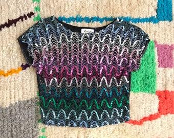 Rainbow sequin crop top!