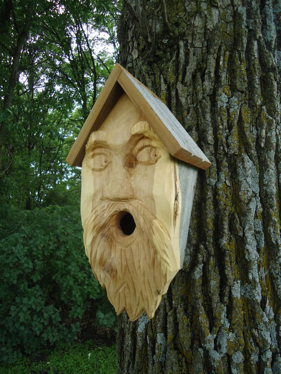 Wood face Birdhouse Old man birdhouse Carved woodOld Man Face Birdhouse